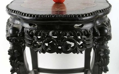 CHINESE ANTIQUE CARVED ZITAN & MARBLE TABLE