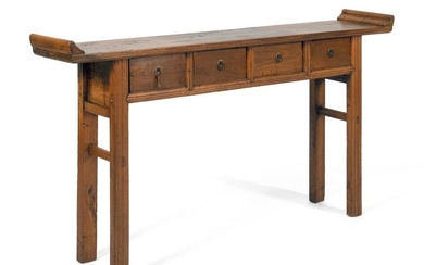 CHINESE ELMWOOD ALTAR TABLE Top constructed from two boards conjoined with three dutchmen. Apron fitted with four side-by-side drawe...