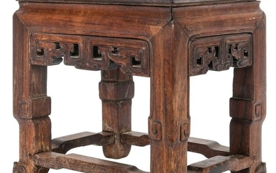 [Chinese] Carved Chinese Qing Dynasty Zitan Wood Stand.