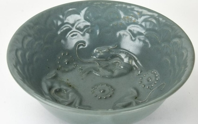 Chinese Celadon Glaze Porcelain Dragon Bowl