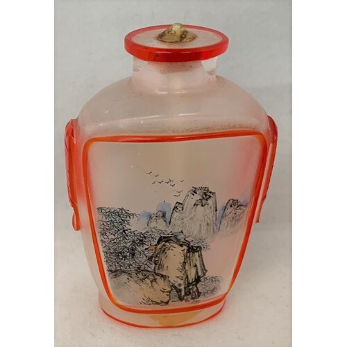 Chinese inside painted snuff bottle, painted scenes to both ...