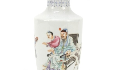 Chinese porcelain vase hand painted in the famille rose pale...