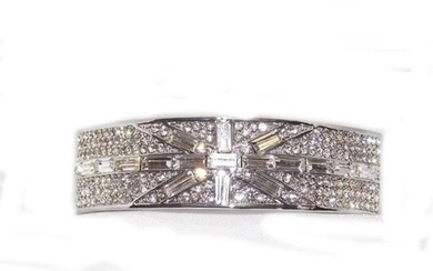 Clear Cubic Zirconia Baguette Cut Silver Hinge Bangle