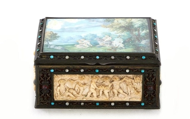Continental silver and ivory trinket box