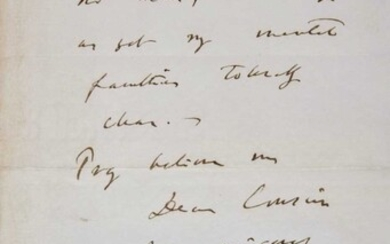 Darwin (Charles, 1809-1882). Autograph letter signed, 1879