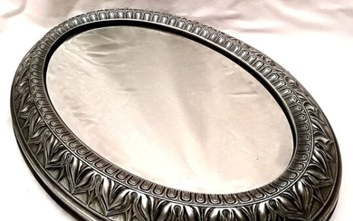 Detail Tray with Finely Crafted Mirror - .800 silver, Wood and Crystal - Italy - Late XIXth Century / Early 20th Century