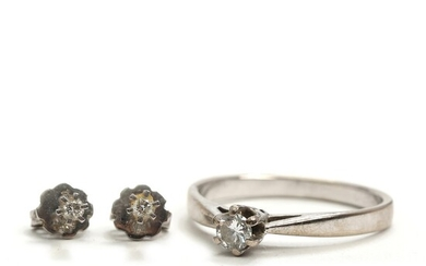 Diamond ear studs and ring set with brilliant-cut diamonds totalling app. 0.30 ct., mounted in...