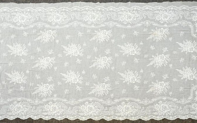 Embroidered cotton muslin curtain, Second Empire