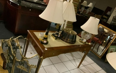 Empire style table desk with 3 assorted lamps