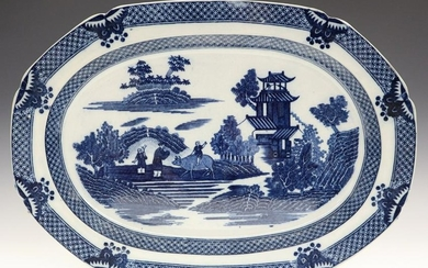 English Blue & White Platter
