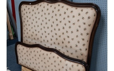 FRENCH STYLE POST-WAR DARK STAINED MAHOGANY DOUBLE BEDSTEAD,...