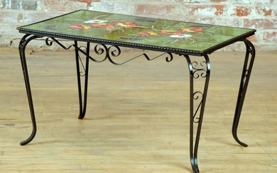 FRENCH WROUGHT IRON COFFEE TABLE TILE TOP FLORAL