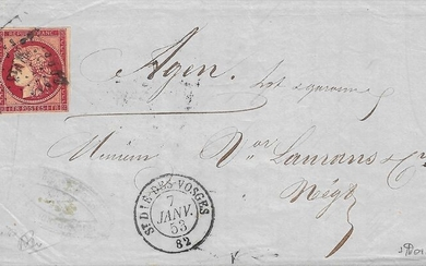 France 1853 - Very rare Ceres 1 franc, exceptional cherry shade on letter - Yvert 6d