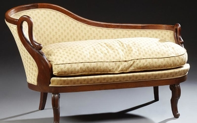 French Empire Style Carved Walnut Meridiane, 20th c.