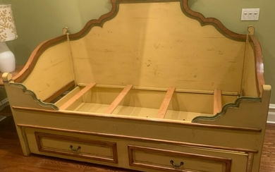 French Provincial Style Carved Box Form Daybed