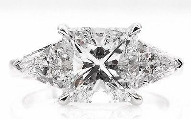 GIA 2.82ct Estate Vintage Cushion Diamond Three Stone