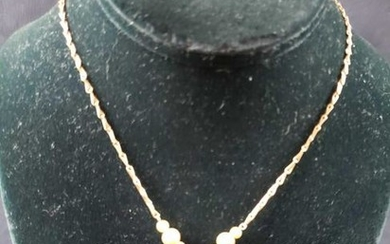 Gold Colored Crucifix Necklace with Faux Pearls Lot 2