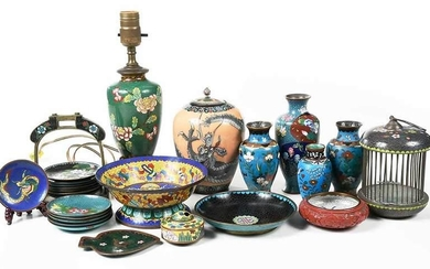 Group of 26 Chinese Cloisonne Table Objects
