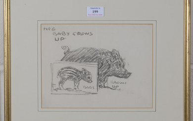 Harry Rountree - 'No 6, Baby Grows Up' (Study of a Pig and Piglet), pencil drawing, 18.5cm