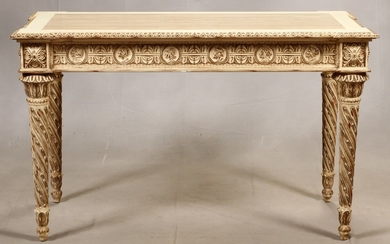 ITALIAN RENAISSANCE REVIVAL PAINTED WOOD MARBLE CONSOLE TABLE 34 27 56