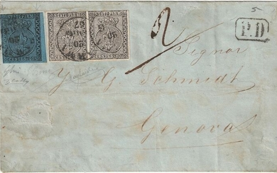 """Italian Ancient States - Parma 1855 - 40 c. stamp with """"two large fret patterns"""", 10 c. pair on letter from Parma to Genoa - Sassone NN. 2, 5e"""