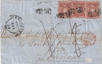 Italian Ancient States - Tuscany 1860 - 40 c. carmine, 3 pieces on letter envelope from Livorno to London - Sassone N.21