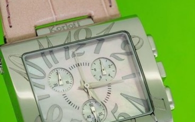 "Korloff - Chronograph Square watch Pink Mother of Pearl Dial Swiss Made- ""NO RESERVE PRICE"" K24/PPINK - Unisex - BRAND NEW"