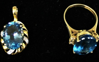 LOT OF (2) 14KT BLUE TOPAZ RING AND PENDANT