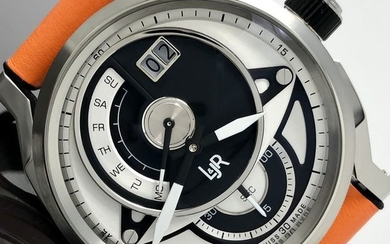 L&JR - Day and Date Black and White Dial with Orange Strap Swiss Made - S1303-S5 - Men - Brand New