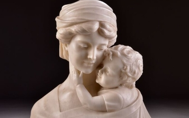 Large marble bust of a mother and child - Marble - Late 19th century
