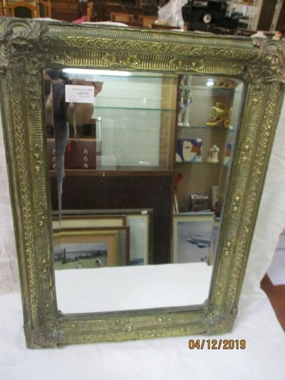 Late 19th Century Decorative Metal Framed Mirror with Bevele...