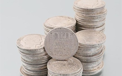 Lot of eighty one silver coins 10 Francs...