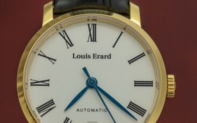 Louis Erard - Automatic Excellence Collection Yellow Gold tone Case Black Leather strap Swiss Made - 68235PJ01.BAJC62 - Women - BRAND NEW
