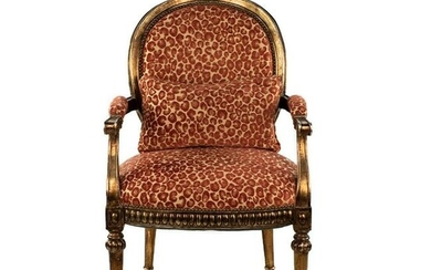 Louis XVI Style Metallic Red Leopard Upholstered