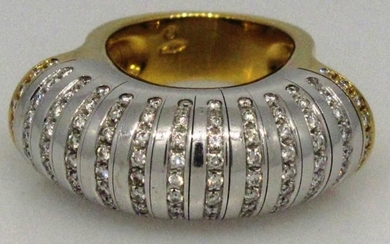 Marvelous Diamond 18k White and Yellow Gold Ring Disco