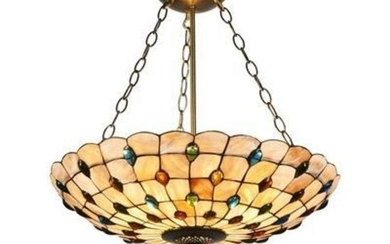 Mosaic-Style Stained Glass Inverted Ceiling Pendant