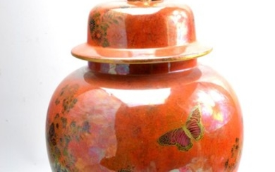 Orange ground Wiltonware floral decorated baluster jar and c...