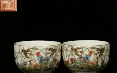 PAIR OF FAMILLE ROSE CUP WITH FLOWERS&BIRDS PATTERN