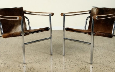 PAIR SIGNED LE CORBUSIER POLISHED CHROME CHAIRS 1960