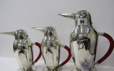 PENGUIN COCKTAIL SHAKERS, an amusing family of 3 silver plat...