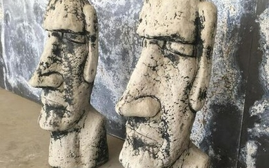 Pair Easter Island Maoi Rapa Nui Style Sculptures