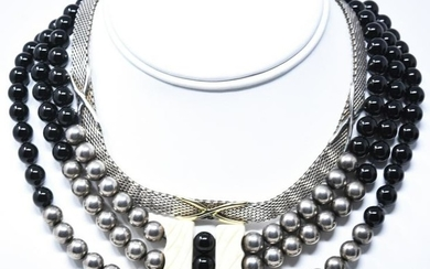 Pair Silver Tone Beaded & Mesh Necklaces