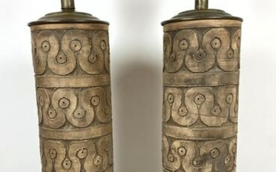 Pair TIC for Raymor Table Lamps. Decorated with incised