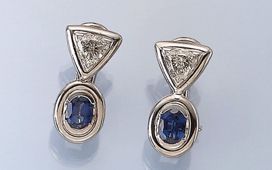 Pair of 18 kt gold earrings with...