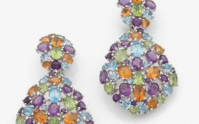 Pair of EAR HANGERS in openwork white gold (750‰), set with amethysts, peridots, topaz and citrines.