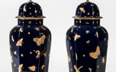 Pair of English Porcelain Vases and Covers