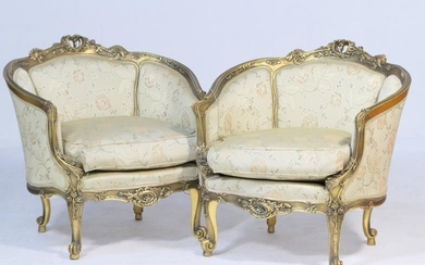 Pair of Italian giltwood and upholstered tub chairs, each...