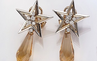 """Pair of earrings """"stars"""" with citrine and..."""