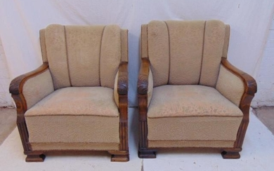 Pair upholstered arm chairs, art deco style, wood