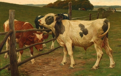 Poul Steffensen: Landscape with cows and a calf at a fence. Signed Poul Steffensen. Oil on canvas. 54.5×51.5 cm.